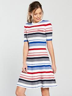 tommy-jeans-stripe-fit-amp-flare-dress