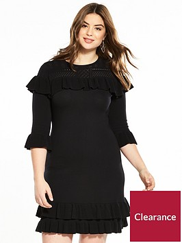 v-by-very-curve-ruffle-knitted-dress