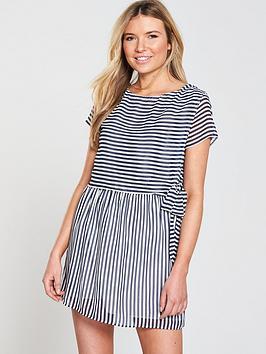 Tommy Jeans Stripe Double Layer Dress, Black Iris/Bright White, Size 16=Xl, Women thumbnail