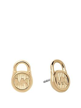 michael-kors-mkj6810710nbspgold-tone-logo-padlock-earrings