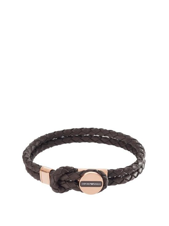 748c79cd Brown Leather Stainless Steel Rose Gold IP Clasp Mens Bracelet