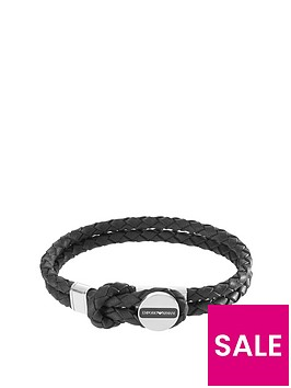 emporio-armani-black-leather-stainless-steel-clasp-mensnbspbracelet