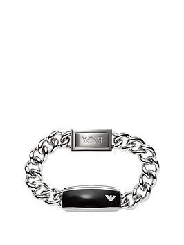 emporio-armani-emporio-armani-stainless-steel-and-black-epoxy-plate-mens-chain-bracelet