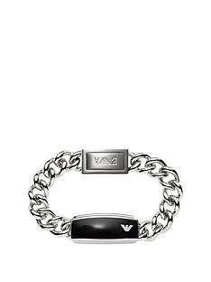 emporio-armani-stainless-steel-and-black-epoxy-plate-mens-chain-bracelet