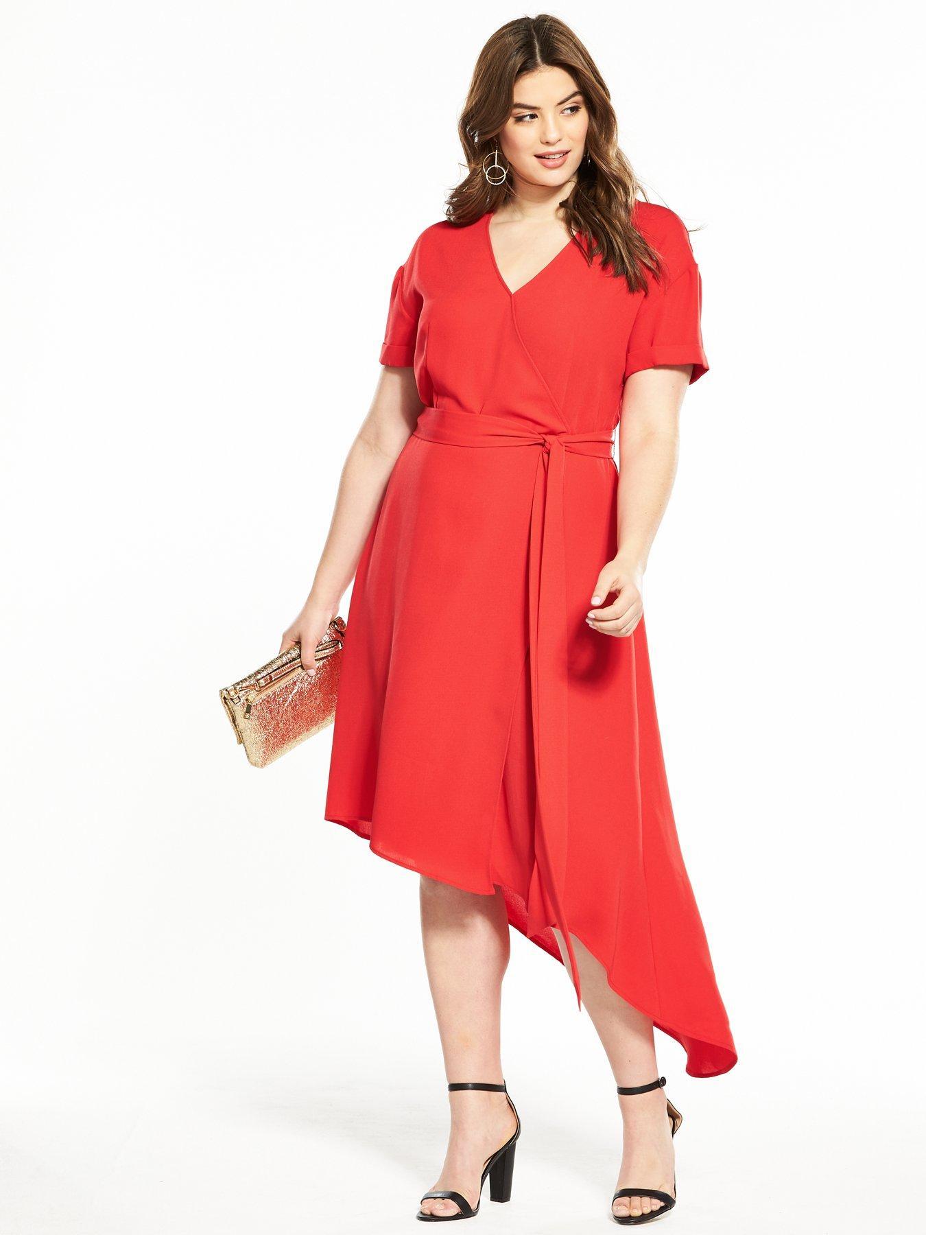 V by Very Curve Asymmetric Hem Wrap Dress