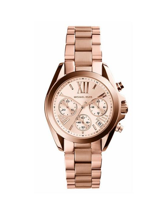 d20eeb5d9057 MICHAEL KORS MK5503 Bradshaw Rose Gold Tone Chronograph Ladies Watch ...