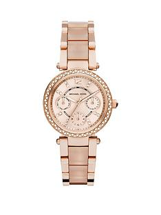 ee4831583493 MICHAEL KORS MK6110 Mini Parker Rose Gold Tone Chronograph Ladies Watch
