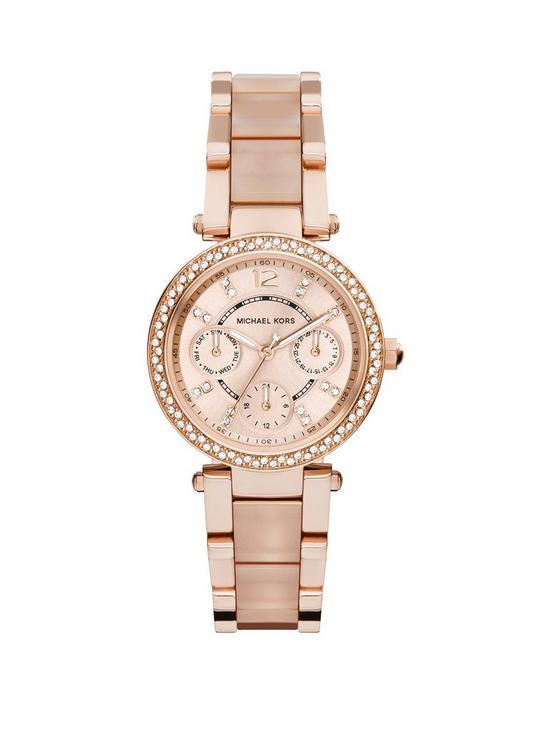 4178d217f2ac MICHAEL KORS MK6110 Mini Parker Rose Gold Tone Chronograph Ladies Watch