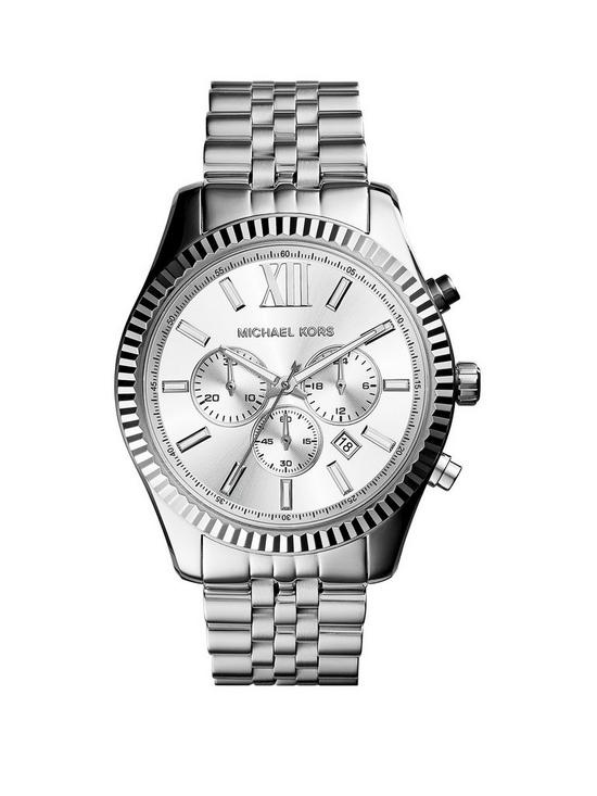 MICHAEL KORS MK8405 Lexington Silver Tone Chronograph Mens Watch ... e40d55a7fc6