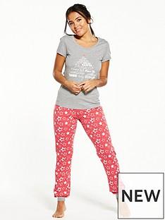v-by-very-xmas-star-print-short-sleeve-pyjamas
