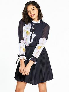 ted-baker-ellona-gardenia-frill-bow-sleeved-dress-dark-bluenbsp