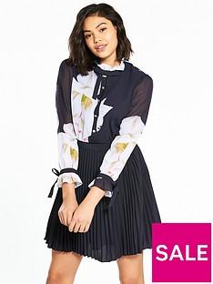 ted-baker-ellona-gardenia-frill-bow-sleeved-dress-dark-bluenbsp