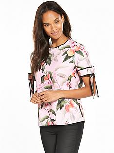 ted-baker-cathe-peach-blossom-bow-cuff-top