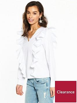 v-by-very-petite-ruffle-cotton-poplin-blouse