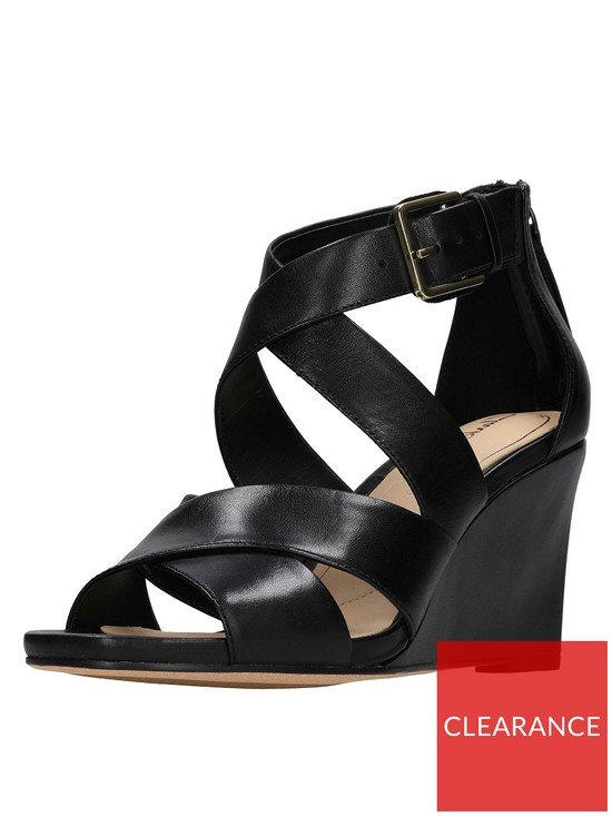 6608393fe Clarks Ysabelle Jules Cross Strap Wedge Sandal - Black