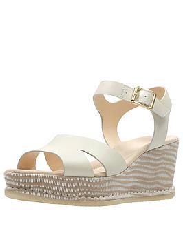 Clarks Akilah Eden Mid Wedge Sandal - White Combi Leather