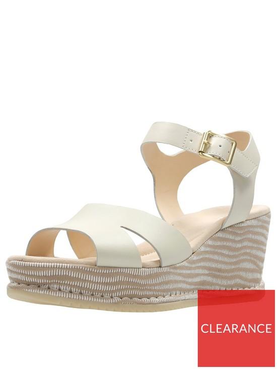 6d5e38c5414 Clarks Akilah Eden Mid Wedge Sandal - White Combi Leather