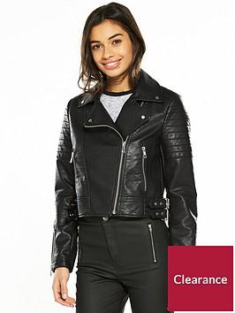 v-by-very-petite-zip-detail-pu-jacket-black