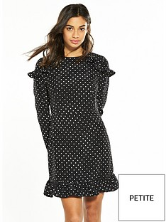v-by-very-petite-ruffle-shoulder-tea-dress-spot-print