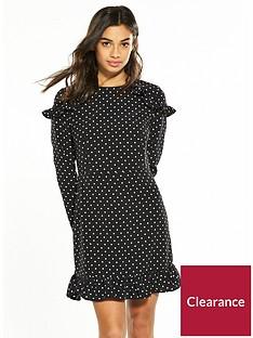 v-by-very-petite-ruffle-shoulder-tea-dress-spot-print