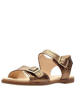 Clarks Bay Primrose Two Strap Flat Sandal - Bronze Metallic