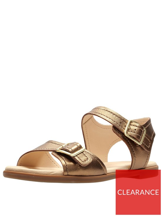 481aa37fb12 Clarks Bay Primrose Two Strap Flat Sandal - Bronze Metallic