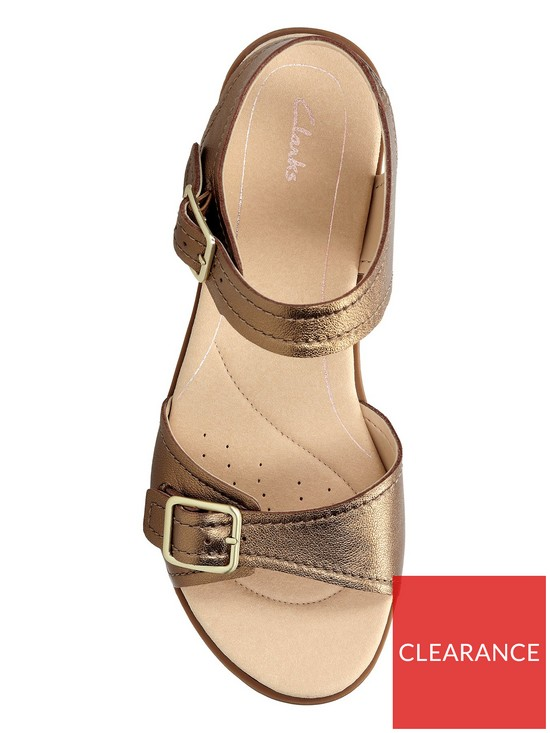 97f03f4a325cff ... Clarks Bay Primrose Two Strap Flat Sandal - Bronze Metallic. View larger