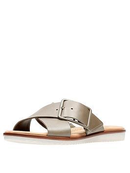 Clarks Clarks Kele Heather Cross Strap Flat Slide Sandal
