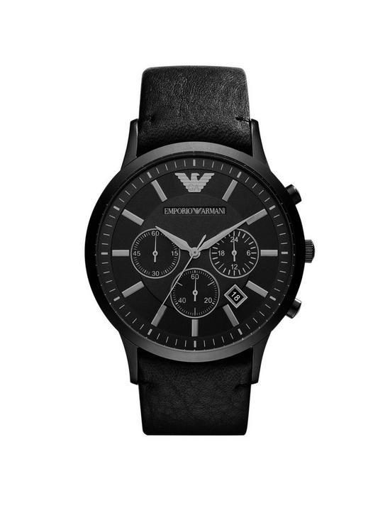 18995b41fe AR2461 Black Chronograph Dial Black Leather Strap Mens Watch