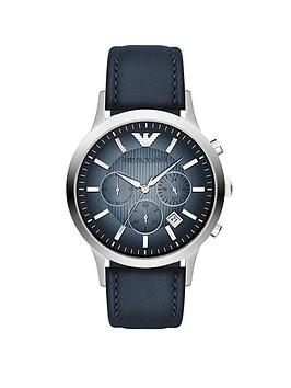 emporio-armani-stainless-steel-blue-leather-strap-gents-watch