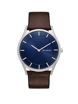 skagen-skagen-holst-stainless-steel-brown-leather-strap-gents-watch