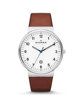 skagen-skagen-ancher-stainless-steel-brown-leather-strap-gents-watch