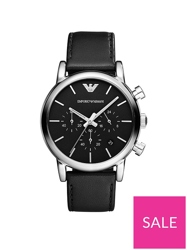 1e5acd649 Emporio Armani Stainless Steel Case Black Dial Leather Strap Gents Watch