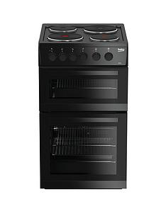 Beko KD533AK 50cm Twin Cavity Electric Cooker - Black with Connection
