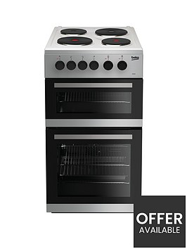 beko-kd533as-50cm-twin-cavity-electric-cooker-silver
