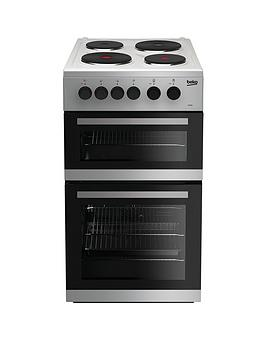 beko-kd533as-50cm-twin-cavity-electric-cooker-silver-with-connection