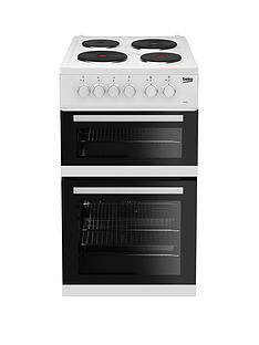 Beko KD533AW 50cm Twin Cavity Electric Cooker - White with Connection