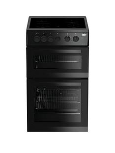 Beko KDC5422AK 50cm Twin Cavity Electric Cooker - Black with Connection