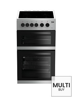 beko-kdc5422as-50cm-twin-cavity-electric-cooker-silver-with-connection