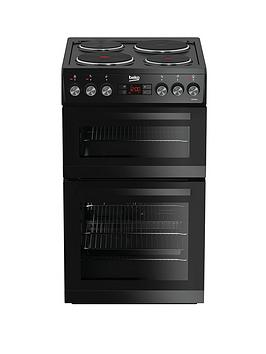 beko-kdv555ak-50cm-double-oven-electric-cooker-with-connection-black