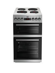 Beko KDV555AS 50cm Double Oven Electric Cooker - Silver