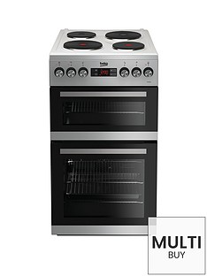beko-kdv555as-50cm-double-oven-electric-cooker-silver-with-connection