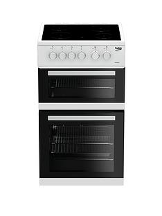 Beko KDC5422AW 50cm Twin Cavity Electric Cooker - White with Connection