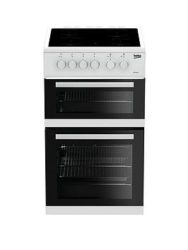 Beko Kdc5422Aw 50Cm Twin Cavity Electric Cooker - White With Connection Best Price, Cheapest Prices