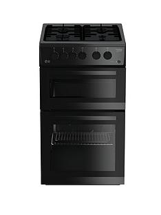Beko KDG582K 50cm Wide Twin Cavity Gas Cooker - Black