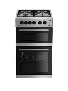 Beko KDG582S 50cm Twin Cavity Gas Cooker - Silver with connection