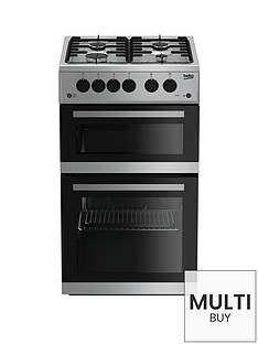 beko-kdg582s-50cm-twin-cavity-gas-cooker-silver-with-connection