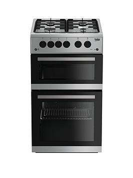 beko-kdg582s-50cmnbspwide-twin-cavity-gas-cooker-silver-with-connection