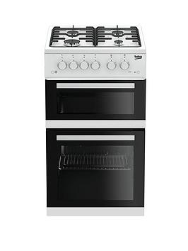 beko-kdg582w-50cm-twin-cavity-gas-cooker-white-with-connection