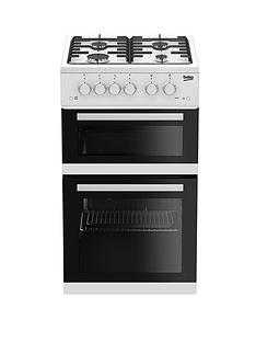 Beko KDG582W 50cmWide Twin Cavity Gas Cooker with Connection - White